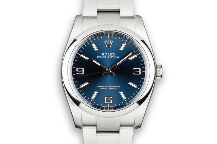 Rolex 36mm Oyster Perpetual 116000 Blue 3, 6, 9 Dial with Box photo
