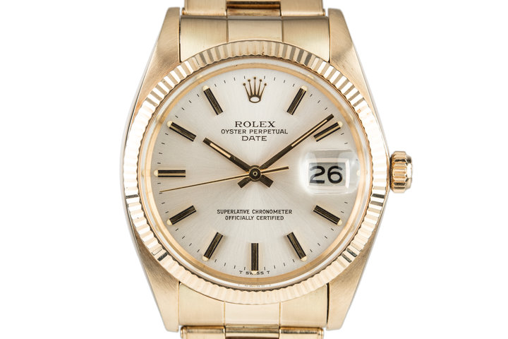 1980 Rolex 14K YG Date 1503 Silver Dial with Box photo