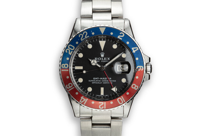 "1971 Rolex GMT-Master 1675 Fat Font ""Pepsi"" Insert photo"