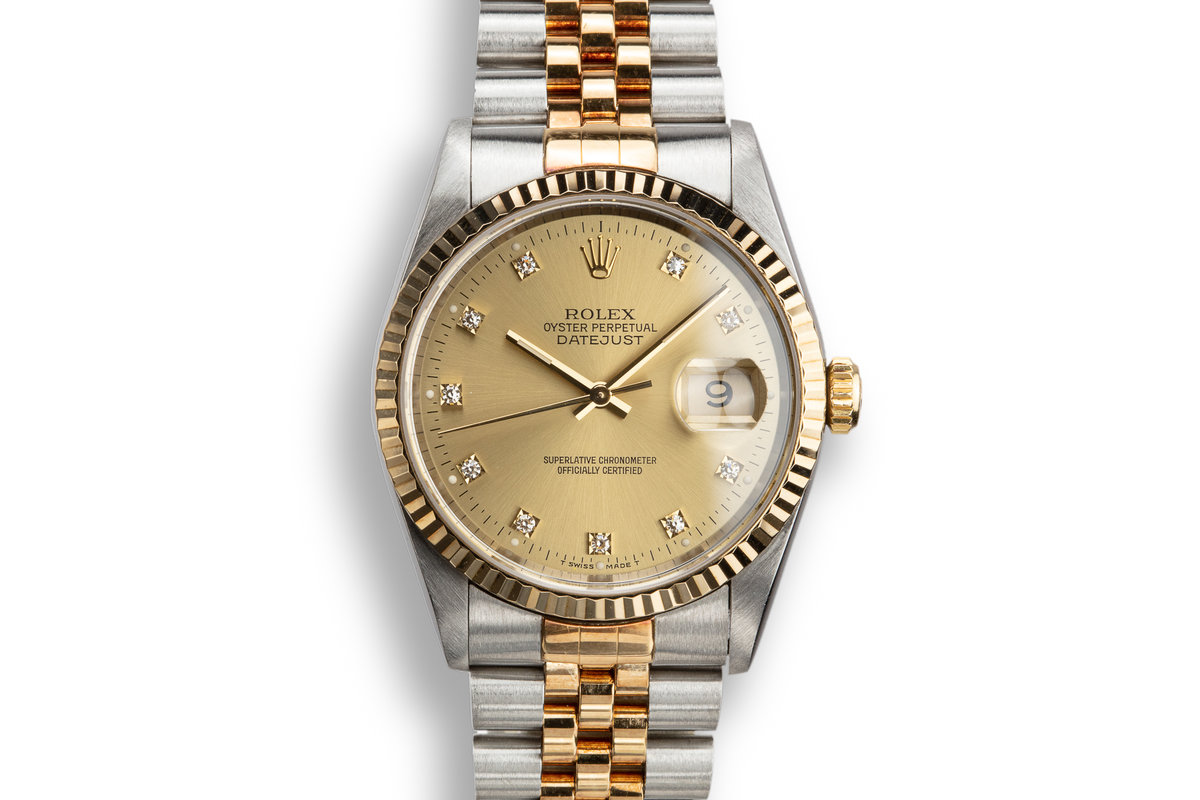 1993 Rolex Two-Tone DateJust 16233 Champagne Diamond Dial with Papers photo, #0