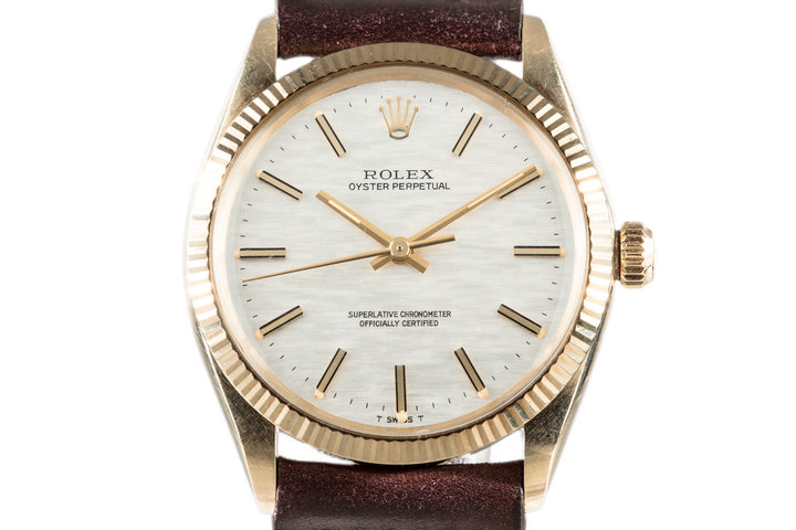 1972 Rolex Oyster Perpetual 1005 Silver Mosaic Dial with Box and Papers photo