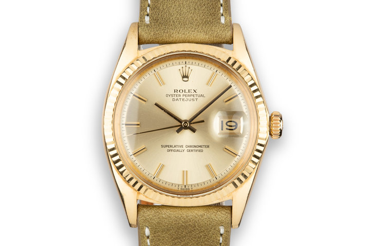 1969 Rolex 18K YG DateJust 1601 with No Lume Champagne Dial photo