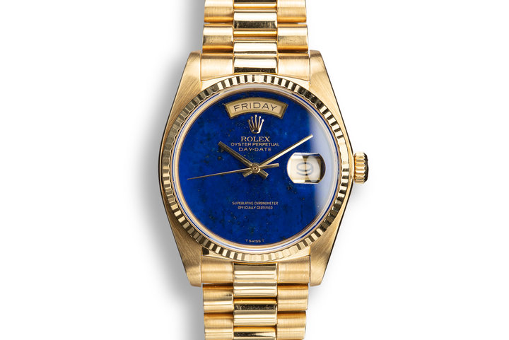 1982 Rolex 18k YG Day-Date 18038 Lapis Dial with Box and Booklets photo
