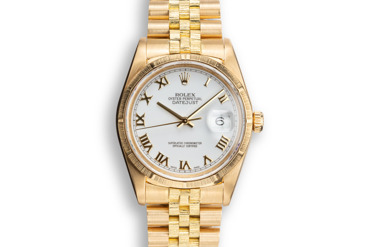 """1999 Rolex 18K YG DateJust 16248 """"Bark Master"""" with White Roman Numeral Dial photo, #0"""