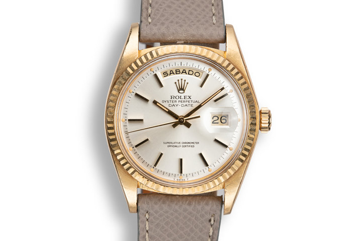 1975 Rolex 18K YG Day-Date 1803 Silver Dial photo