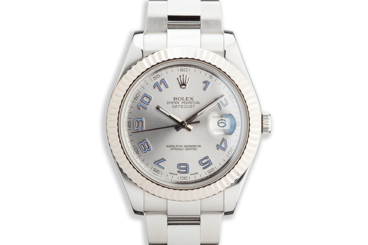Rolex 41mm DateJust 116334 Silver Arabic Dial with Service Papers photo, #0