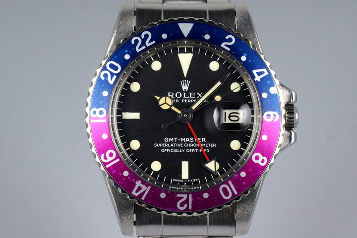 1967 Rolex GMT 1675 Mark I Dial and Fuchsia Insert with Box and Papers photo