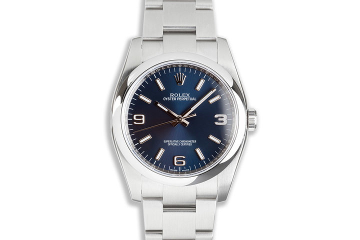 2021 Rolex Oyster Perpetual 116000 Bright Metallic Blue Dial 36mm photo