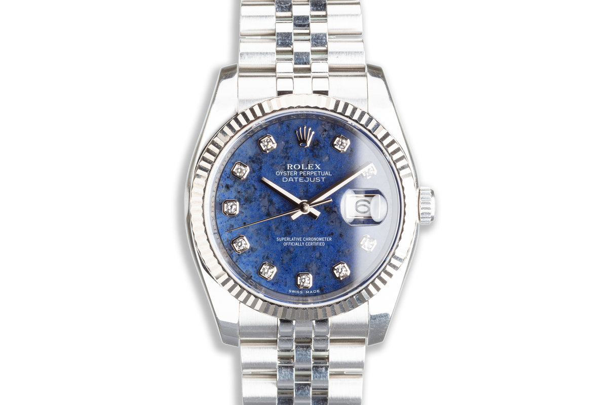 2007 Unpolished Rolex Datejust 116234 Blue Sodalite Diamond Dial with Box & Booklets photo, #0