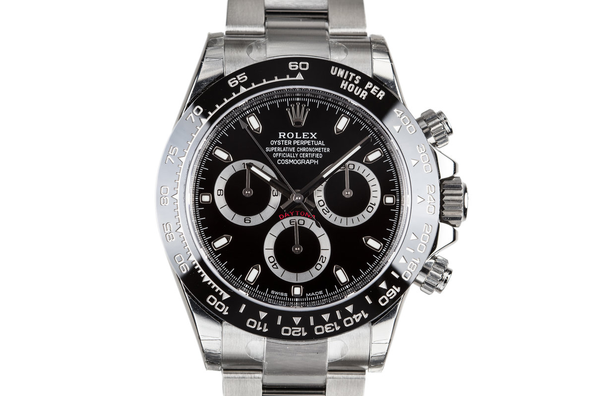 hq milton mint 2018 rolex daytona 116500ln black dial. Black Bedroom Furniture Sets. Home Design Ideas