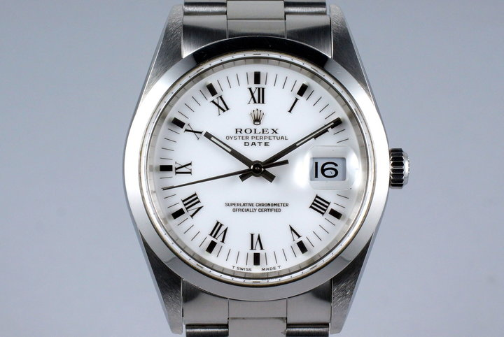 1999 Rolex Date 15200 White Roman Dial with Box & Papers photo