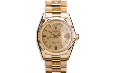 1971 18K YG Vintage Rolex Day-Date 1803 with Champagne Linen Dial photo