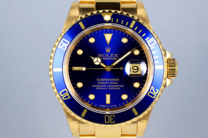 1991 Rolex YG Submariner 16618 Blue Dial photo