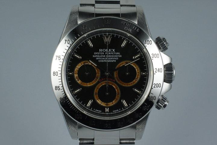 1993 Rolex SS Zenith Daytona 16520 Black Patrizzi Dial photo