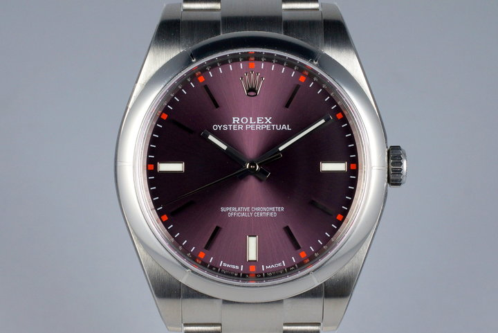 2016 Rolex Oyster Perpetual Ref: 114300 'Red Grape' Dial MINT photo