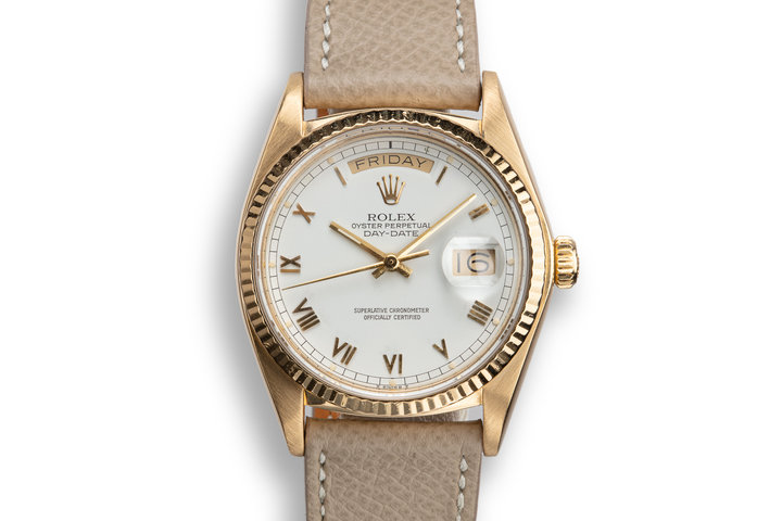1981 Rolex 18K YG Day-Date 18038 White Roman Numeral Dial with Box and Papers photo