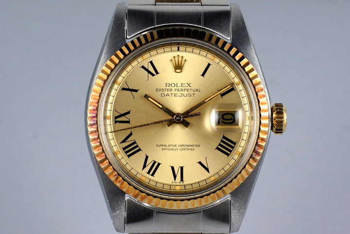 1972 Rolex Two Tone DateJust 1601 Champagne Roman Numeral Dial with Box and Papers photo
