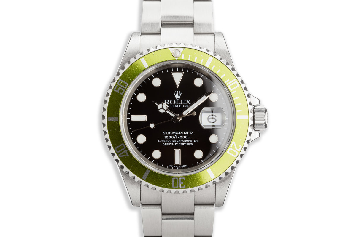 "2006 Rolex Anniversary Green Submariner 16610LV ""Lime"" with Box and Card photo, #0"