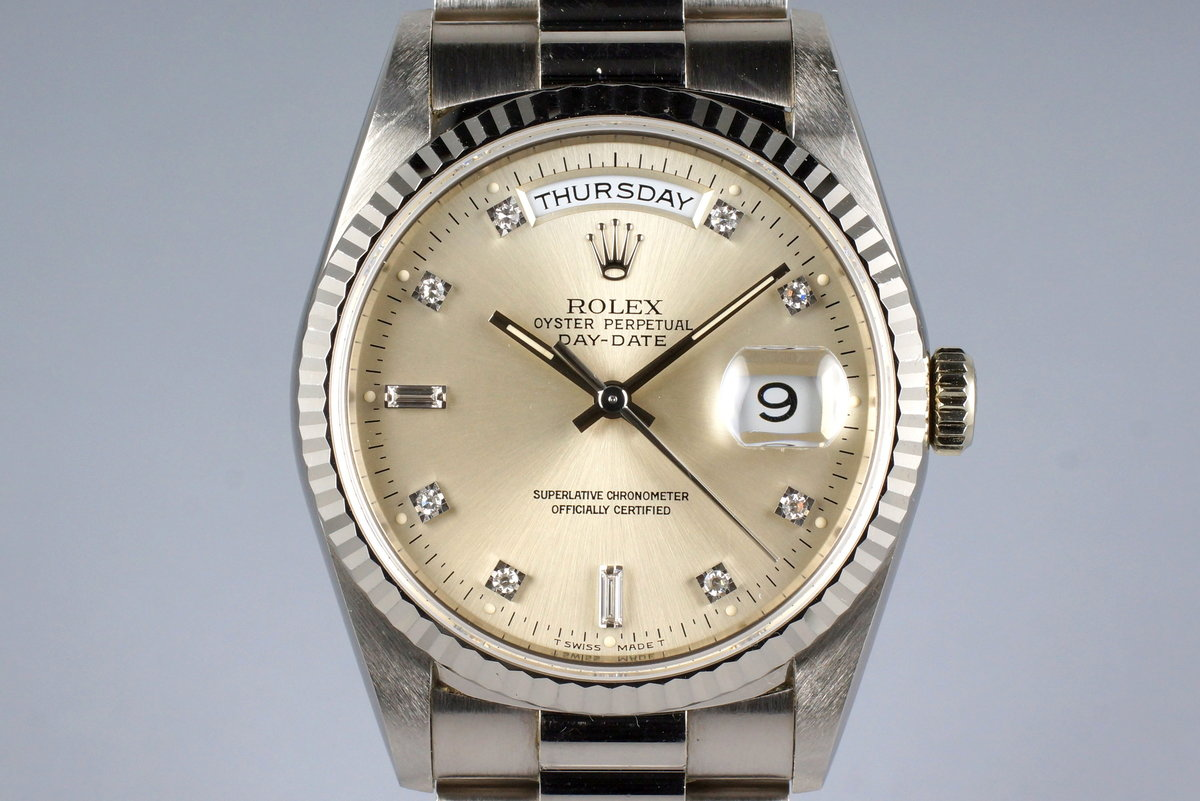 1994 Rolex WG Day-Date 18239 Factory Silver Diamond Dial photo, #0