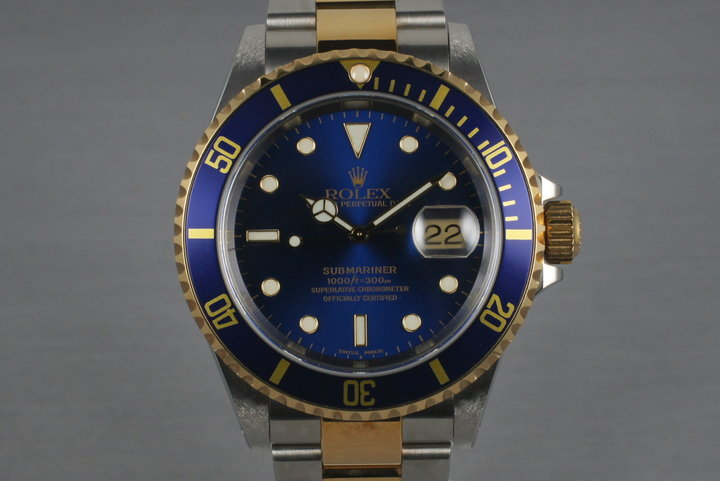 2000 Two Tone Blue Submariner 16613 with Box and Papers photo