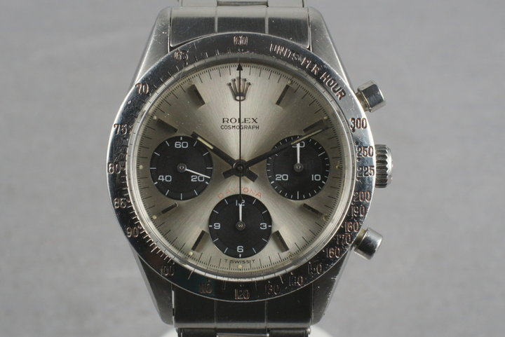 Rolex Daytona 6239 with Rare Silver dial with RED Daytona printing photo