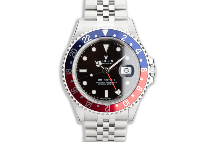 """2006 Rolex GMT-Master II 16710 T """"Pepsi"""" """"Error-Dial"""" with Box & Papers photo"""