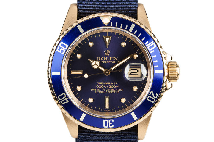 1984 Rolex 18k Submariner 16808 Blue Nipple Dial photo