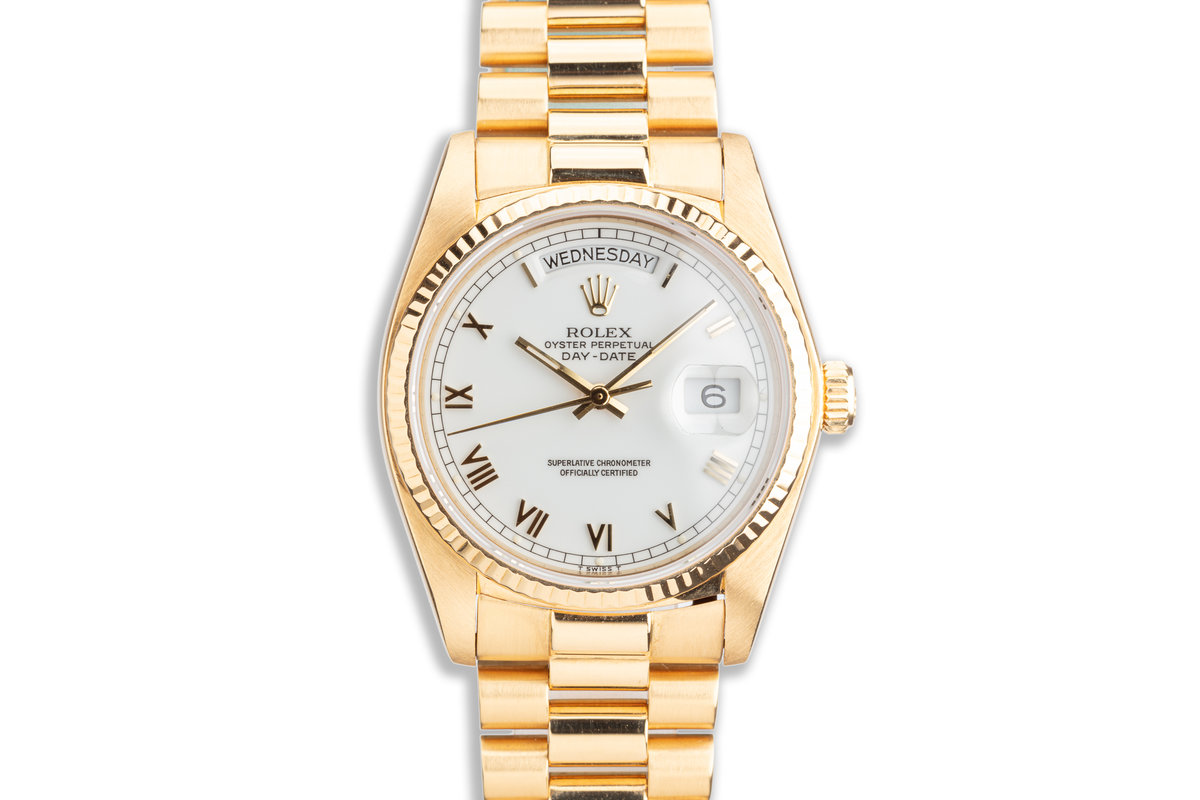 1982 Rolex 18K YG Day-Date 18038 with White Roman Dial photo, #0