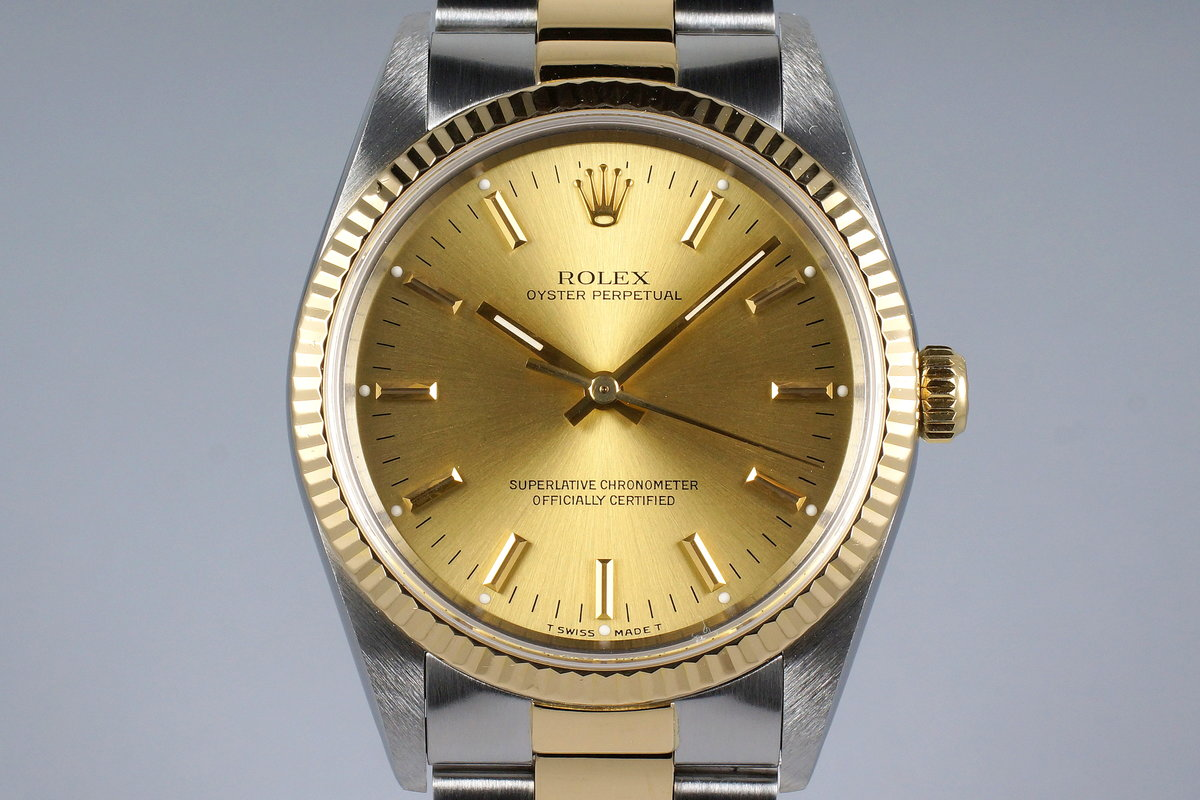 1991 Rolex Two Tone Oyster Perpetual 14233 Champagne Dial photo, #0