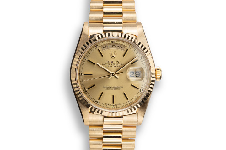 1995 Rolex 18K YG Day-Date 18238 Champagne Dial with Papers photo