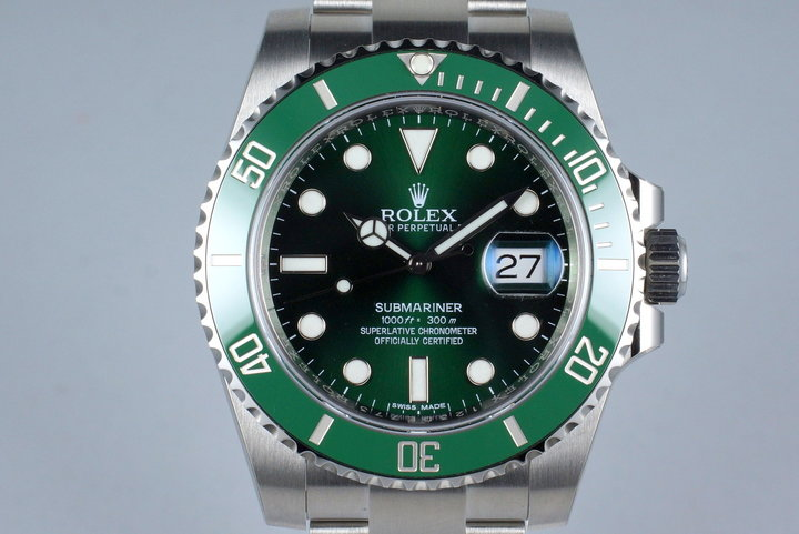 2015 Rolex Green Submariner 116610LV with Box and Papers MINT photo