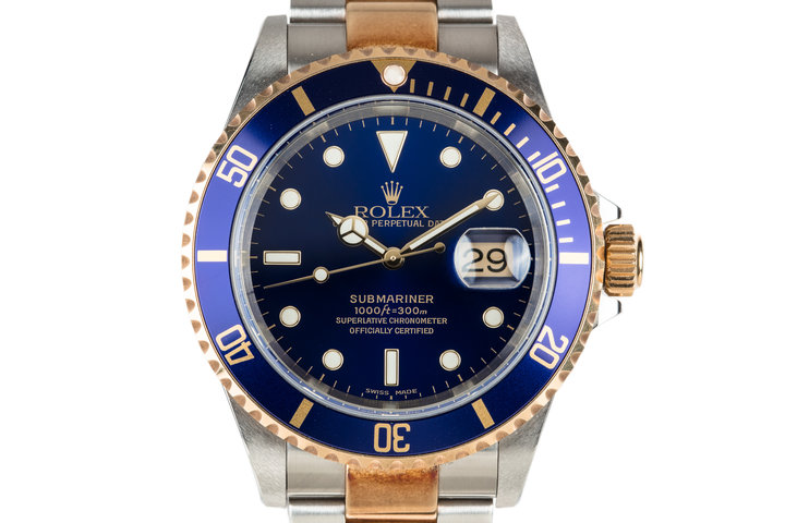 2002 Rolex Two Tone Submariner 16613 Blue Dial and Very Rosy Patina photo