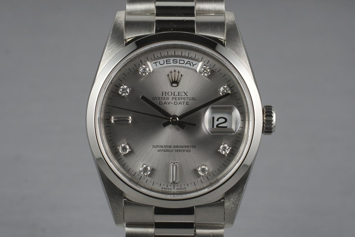 1995 Rolex Platinum Day-Date 18206 Diamond Dial with Box and Papers photo