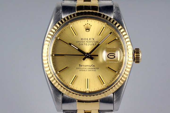 1983 Rolex Two Tone DateJust 16013 Champagne Tiffany & Co. Dial photo
