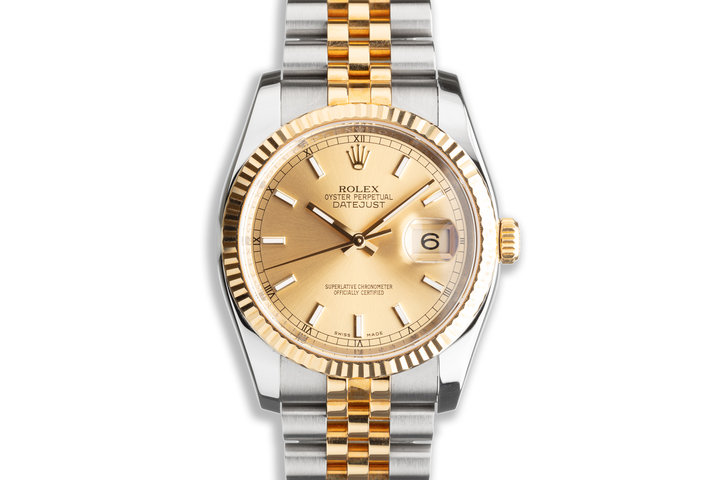 2011 Unworn Rolex Two-Tone DateJust 116233 Champagne Dial with Box & Card photo