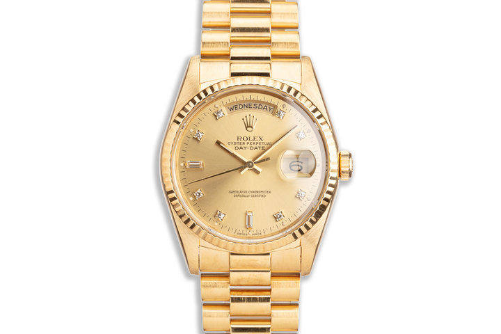 Unpolished 1989 Rolex 18K YG Day-Date 18238 with Champagne Diamond Marker Dial photo