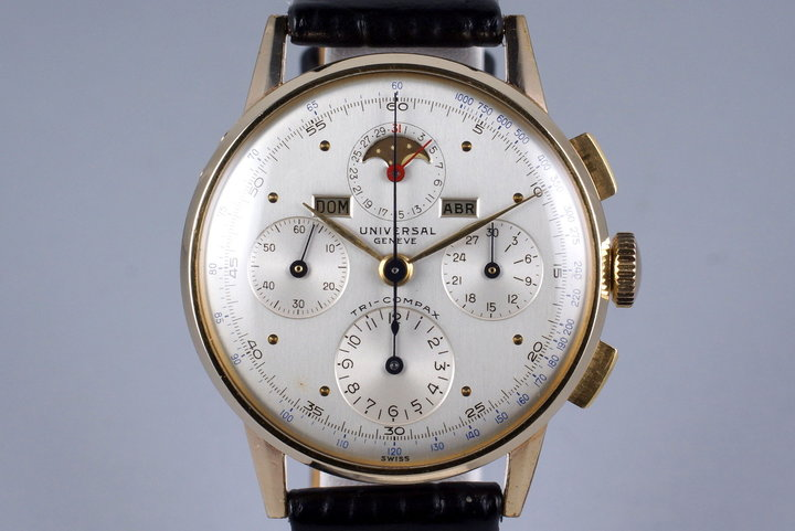 1940's Gold Plated Universal Geneve Tri-Compax 42406 photo
