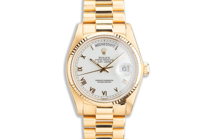 1982 Rolex 18K YG Day-Date 18038 with White Roman Dial photo
