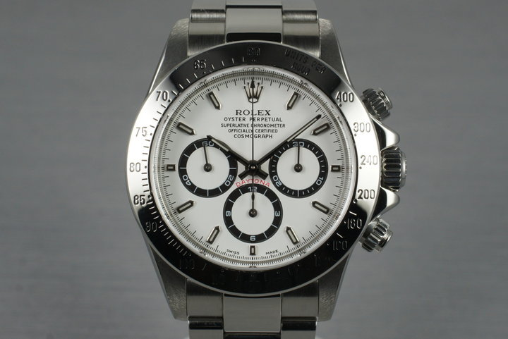 1999 Rolex SS Zenith Daytona 16520 White Dial with Box and Papers photo