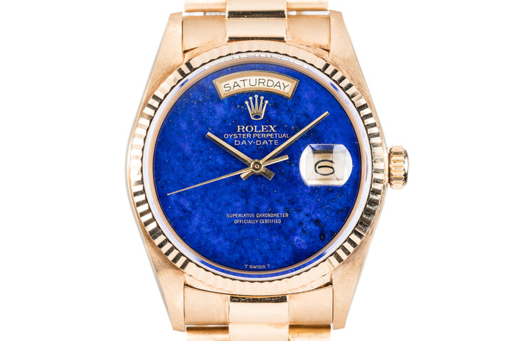 1984 Rolex 18K YG Day-Date 18038 with Blue Lapis Dial photo