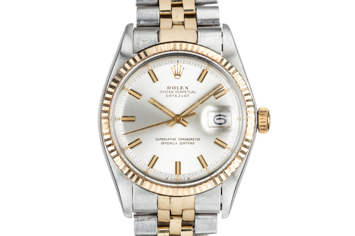 """1972 Rolex Two-Tone DateJust 1601 with Silver Sigma """"Wide Boy"""" Dial photo, #0"""
