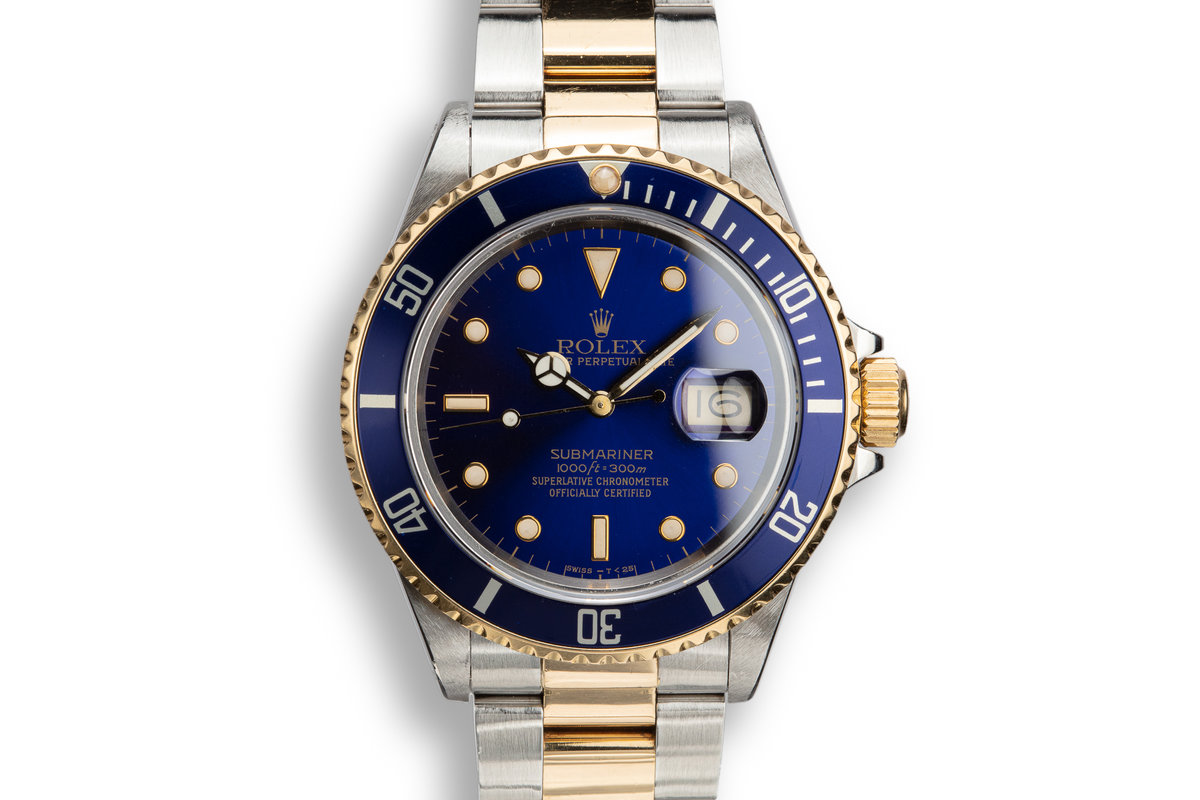 1988 Rolex Two-Tone Submariner 16803 Blue Dial with Box and Papers photo, #0