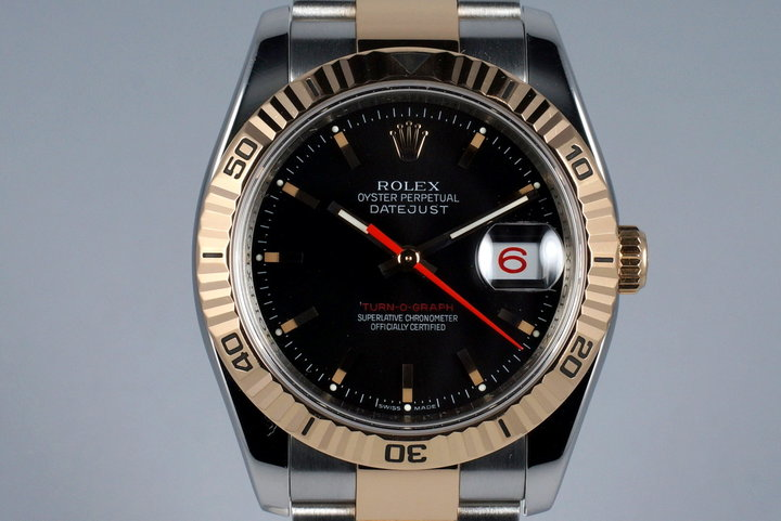2005 Rolex Two Tone RG DateJust 116261 Turn-O-Graph with Black Dial photo