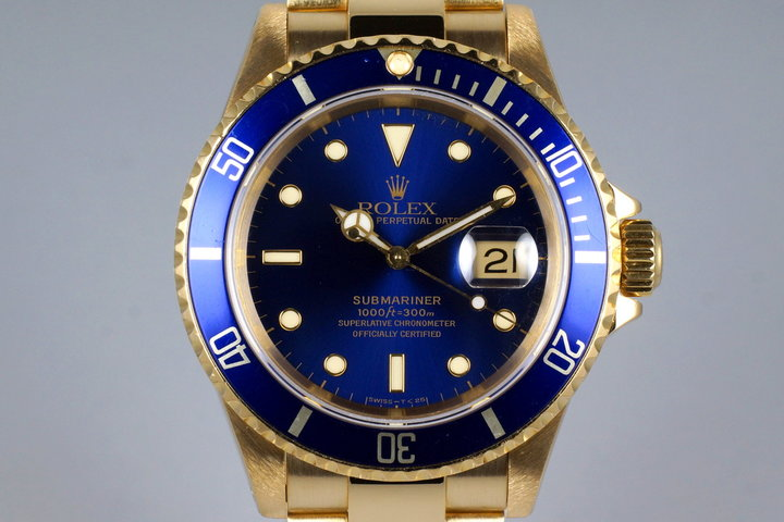 1991 Rolex YG Blue Submariner 16618 photo