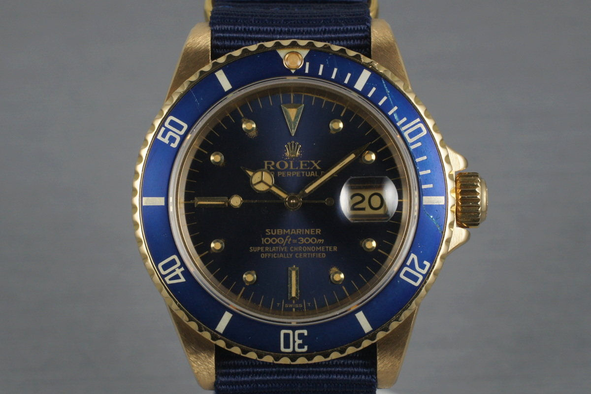 1980 Rolex 18K Submariner 16808 with Blue Nipple Dial photo, #0