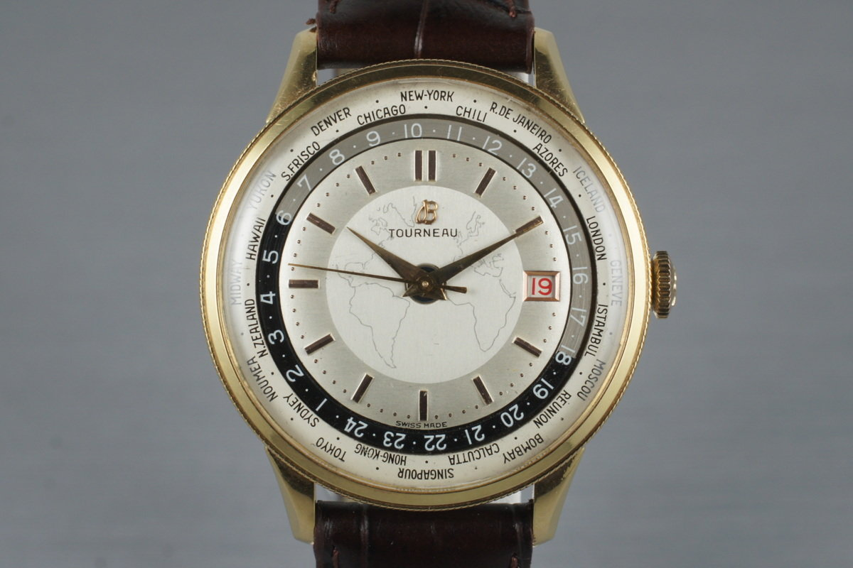 1951 Breitling Gold Capped Unitime 1-206 with Tourneau Double Name Dial photo, #0