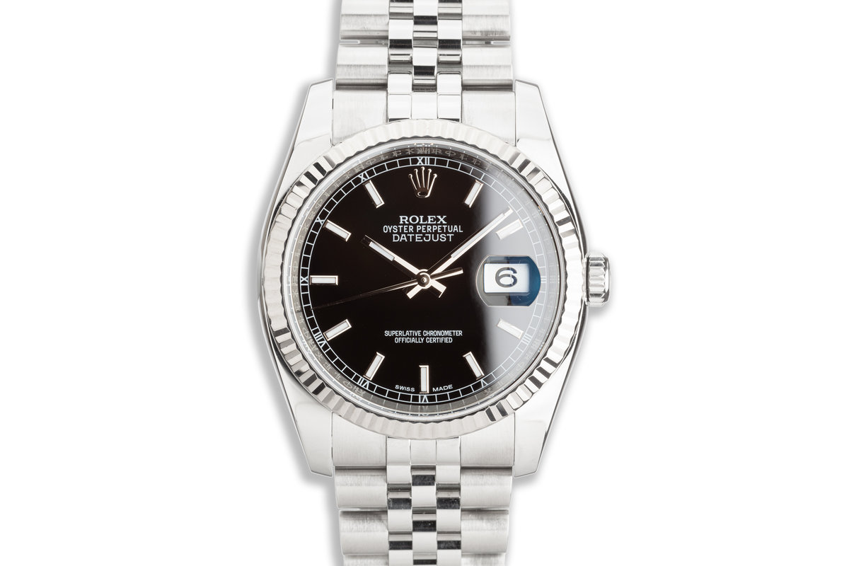 """2018 Rolex Datejust 116234 Black Dial """"Roulette"""" Date Wheel with Box & Card photo, #0"""