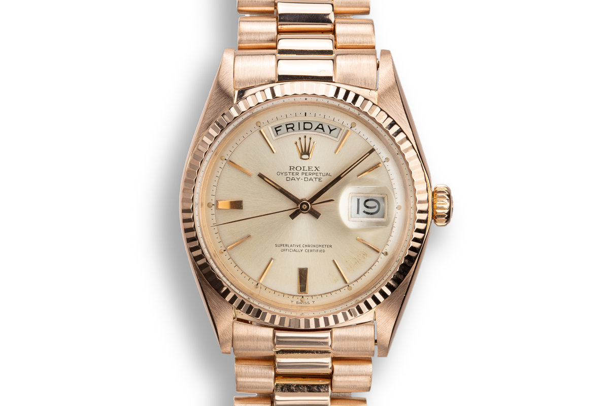 1965 Rolex 18K Rose Gold Day-Date 1803 Silver Dial photo, #0