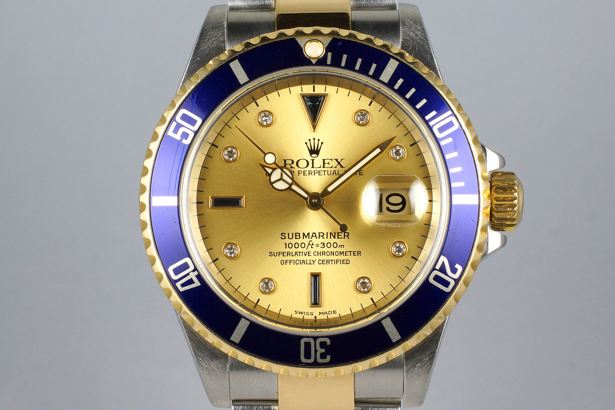 2000 Rolex Two Tone Submariner 16613 Champagne Serti Dial with Box and Papers photo, #0