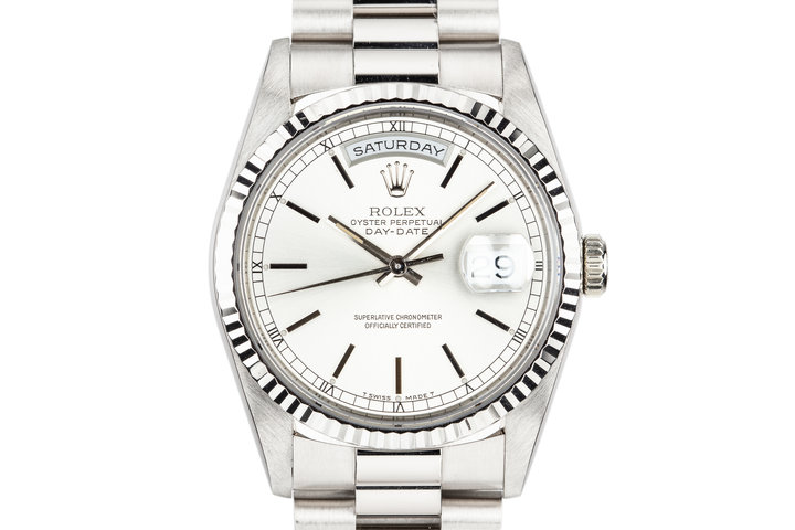 1993 Rolex 18K White Gold Day-date 18239 Silver Dial photo